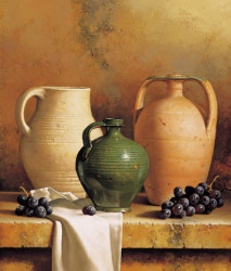 Earthware with Grapes by Loran Speck