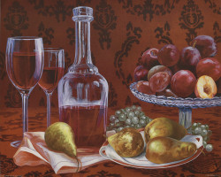 Still Life Pears & Grapes by Judie Ahlburg