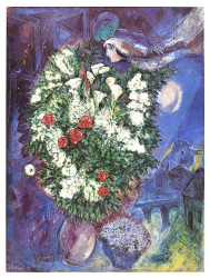 Bouquet with flying lover by Marc Chagall