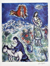 A Sur La Route De Village by Marc Chagall