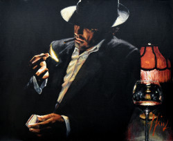 Man Lighting a Cigarette II by Fabian Perez - Stretched Canvas