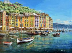 View to Portofino by Sam Park - Stretched Canvas