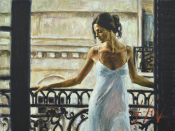 Balcony at Buenos Aires I by Fabian Perez - Stretched Canvas