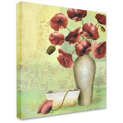 White Vase on Green by Stretched Canvas