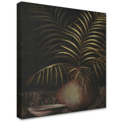 Palm in Vase with Bowl by Stretched Canvas