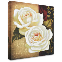 White Roses by Stretched Canvas
