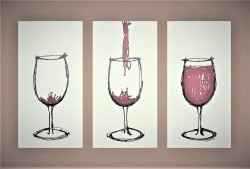 Fill Me Up - Wine - Burgundy/Black on White by Kristy Holt - Stretched Canvas