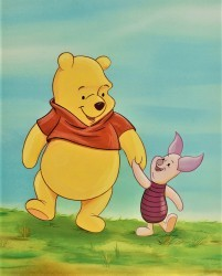 Pooh walking with Piglet