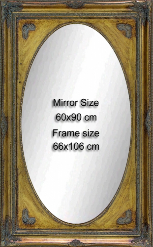 Classic wooden frame , ready to hang fitted with 60x90 cm Mirror.<br>Outside size: