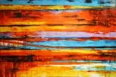 Horizon High Gloss Finish Painting   Ready to Hang