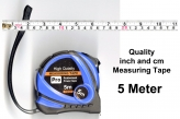 Quality 5 Metre Measuring Tape, Inch and Centimetre