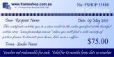 Gift voucher value of $75.00