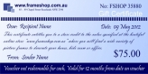 Gift voucher value of $75.00