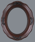 Oval Frame 010 Walnut   Internal Size 6x8 inch   (15 x 20.5cm)   Frame Width 0.75in (2cm) with   Clear Acrylic and MDF Backing