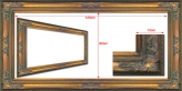 Classic Gold Ornate Baroque Frame Opening to fit 48x24 inch (120x60cm) Out Side Dimentions is 133x73cm.