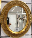 Oval Frame Gold Internal Size 20x25 cm Frame Width fitted with a mirror outer dimentions 28x33cm